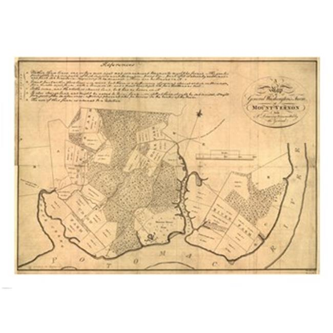 Pivot Publishing - A PPAPVP1712 Map of Mt Vernon made by Washington -24 x 18 Poster Print