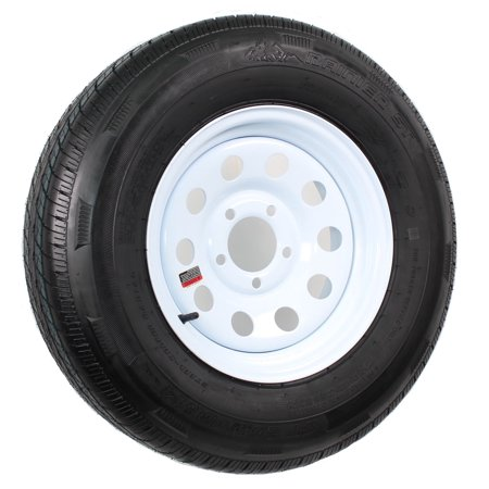 Radial Trailer Tire On Rim ST205/75R14 205/75-14 14 5 Lug Wheel White Modular