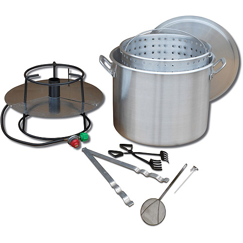 King Kooker Portable Propane Outdoor Boiling Package with 80-Quart Aluminum Pot, Basket, Lid and Accessories