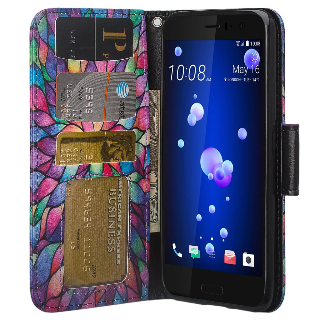 huge selection of d30ba 5e2a3 HTC U11 Case, HTC U11 Wallet Case, Wrist Strap Flip Folio [Kickstand  Feature] Pu Leather Wallet Case with ID&Credit Card Slot For HTC U11 -  Rainbow ...