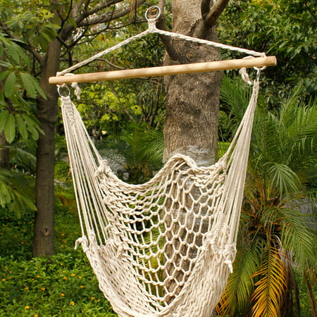 - Ktaxon Outdoor Hanging Swing Cotton Hammock Chair Solid Rope with Wooden Bar Yard Patio Porch Garden