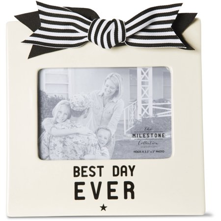 The Milestone Collection - Best Day Ever 3.5x5 Wedding/Vacation Cream Horizonal Picture Frame with Bow and - Crown Frame