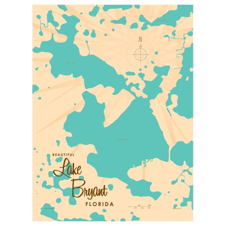 Lake Bryant Florida Map Vintage Style Art Print By Lakebound 9 X