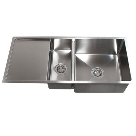 Contempo Living Inc 42-inch Double Bowl Undermount 15mm Radius Kitchen Sink With 13-inch Drainboard