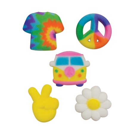 Peace And Love Hippie Sugar Decorations Toppers Cupcake Cake Cookies Birthday Favors Party 12 Count (Hippie Party)