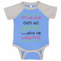 "Adorable Grinch Baseball Bodysuit Raglan ""I'm So Cute Even The Grinch Wants To Steal Me"" Cute Newborn Xmas Shirt Gift - Baby Tee, 12-18 months, Blue & Grey Short Sleeve"