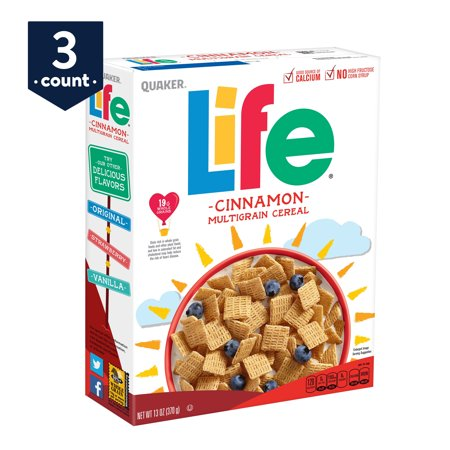 Life Cinnamon Cereal, 13 oz Boxes, 3 Count
