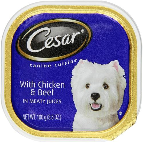 Cesar Canine Cuisine with Chicken & Beef in Meaty Juices 3.50 oz (Pack of 2)