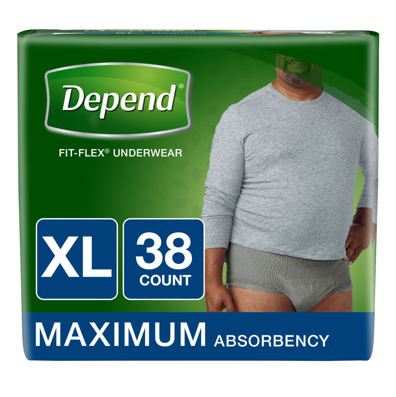 Depend FIT-FLEX Incontinence Underwear for Men, Maximum Absorbency, XL, Gray, 38 Ct