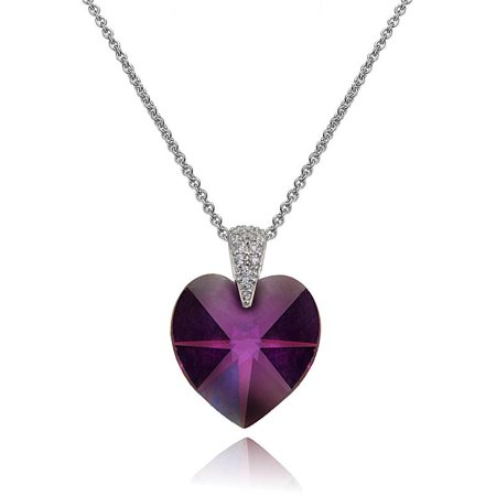 Sterling Silver Purple Heart Necklace Created with Swarovski Crystals
