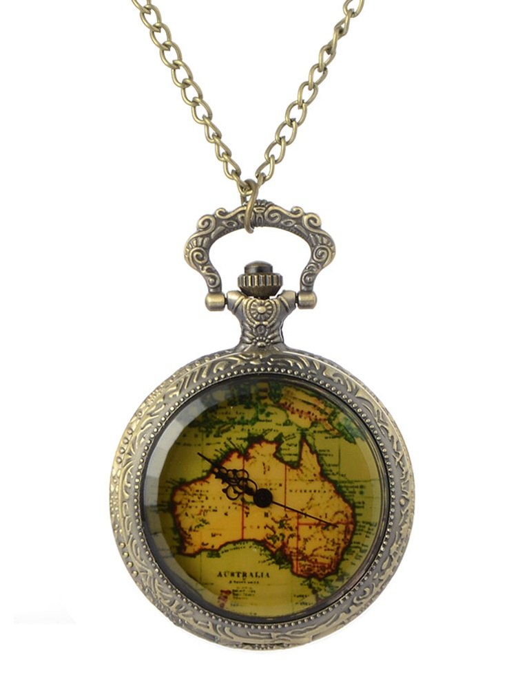 Old World Style Map Pocket Watch Copper Color Anti-Tarnish Open Face Watch  WP-MAP-A
