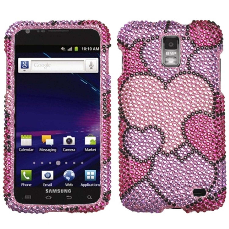 Insten Cloudy Hearts Diamante Case for SAMSUNG: i727 (Galaxy S II Skyrocket)