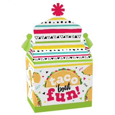 Taco 'Bout Fun - Treat Box Party Favors - Mexican Fiesta Goodie Gable Boxes - Set of 12 Favor Gable Boxes