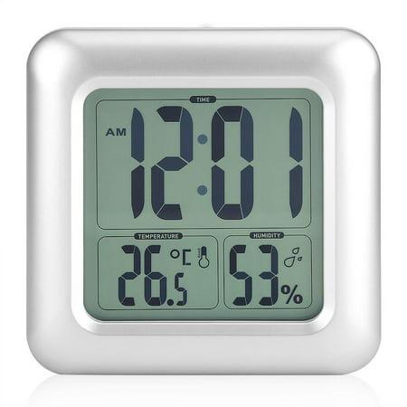 HURRISE Horloge murale d'aspiration, horloge murale de salle de bains, horloge murale numérique de salle de bains imperméable à l'eau murale d'aspiration d'horloge thermomètre hygromètre - image 1 de 9