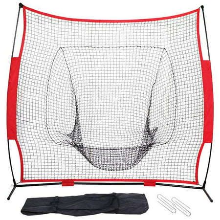 Yaheetech Portable 7' x 7' Baseball and Softball Practice Net for Pitching and