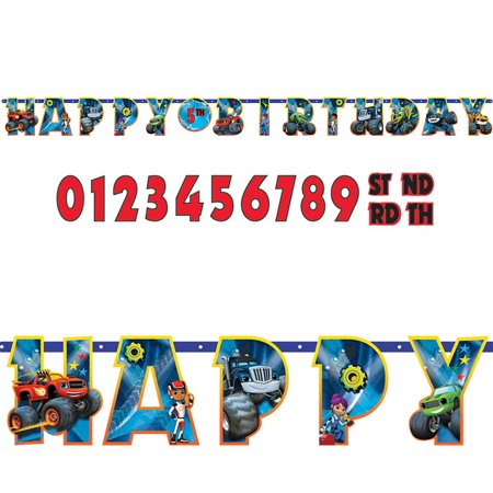 Blaze and the Monster Machines Jumbo Add an Age Letter Banner - Party Supplies