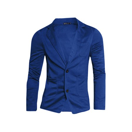 Mens Simple Two Pockets Front Two Buttons Long Sleeve Blazer Royal Blue S - image 7 of 7