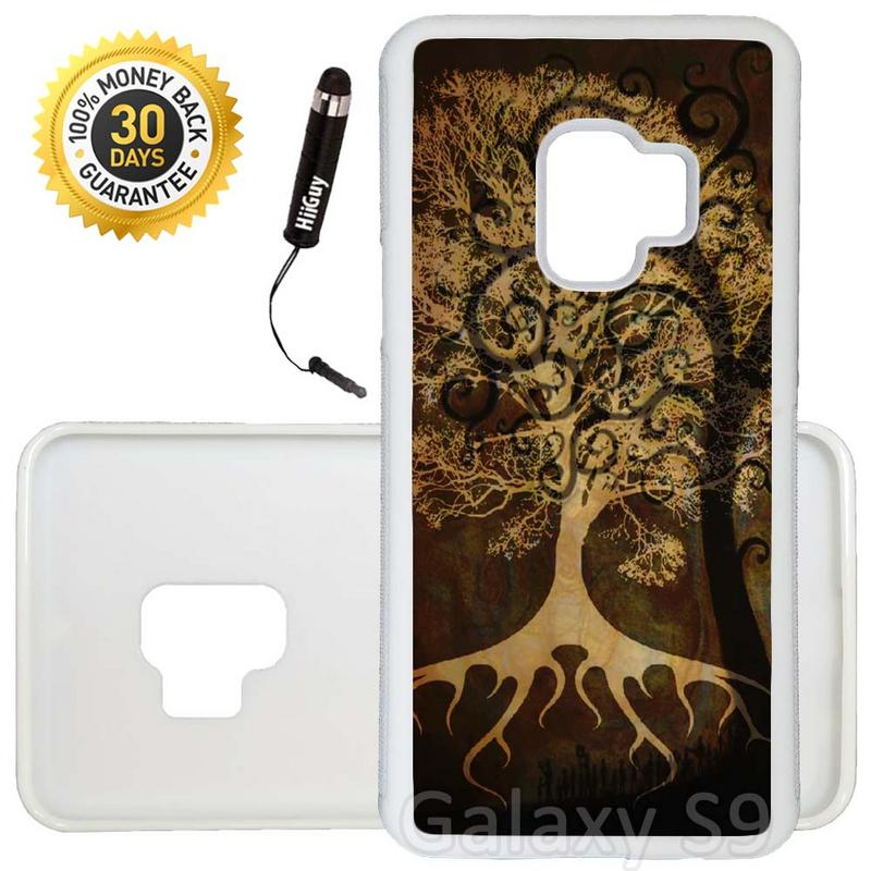 Custom Galaxy S9 Case (Highmall Black Tree leaf) Edge-to-Edge Rubber White Cover Ultra Slim | Lightweight | Includes Stylus Pen by Innosub