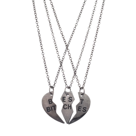 Gunmetal Heart - Lux Accessories Best Bitches BFF Friends Forever Gunmetal Heart 3 PC Necklace Set
