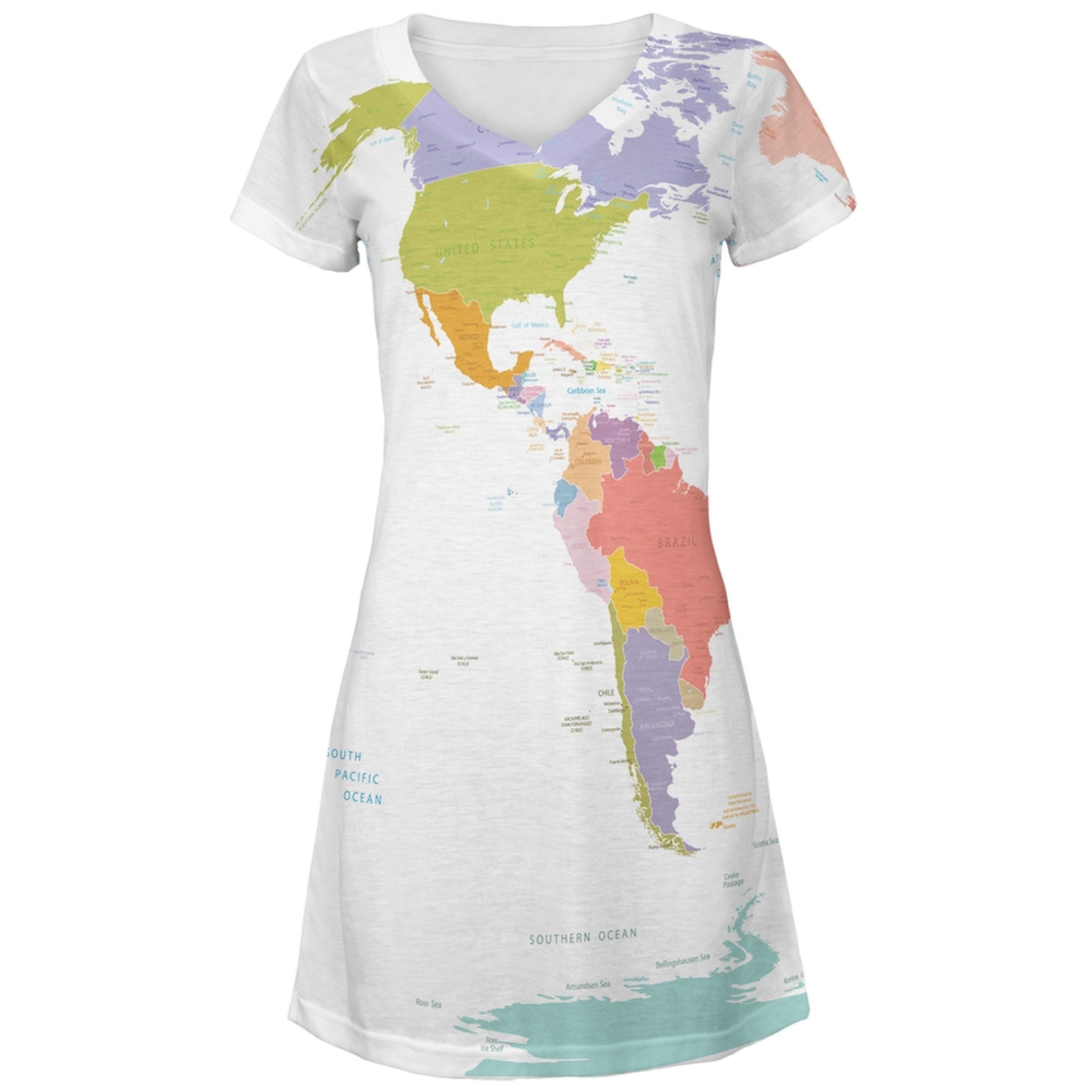 World Traveler Global Map Juniors V-Neck Beach Cover-Up Dress