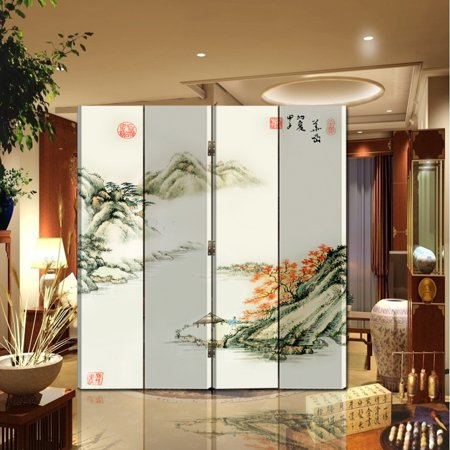 4 Panel Screen China - Oriental Style 4-panel Foldable Shoji Screen Room Divider, Chinese Painting Mountain and River