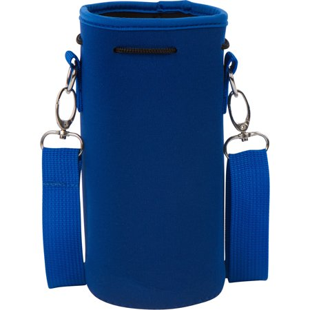 Neoprene Water Bottle or Flask Carrier Holder (32 ounces or 1-1.5 Liter) w/ Adjustable Shoulder Strap by Made Easy