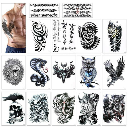 Tribal Tattoo Sleeves (Temporary Tattoo for Guys for Man - Konsait Extra Fake Temporary Tattoo Black tattoo Body Stickers Arm Shoulder Chest & Back Make Up - Lion, Dead Skull,Koi Fish, Eagle Hawks)