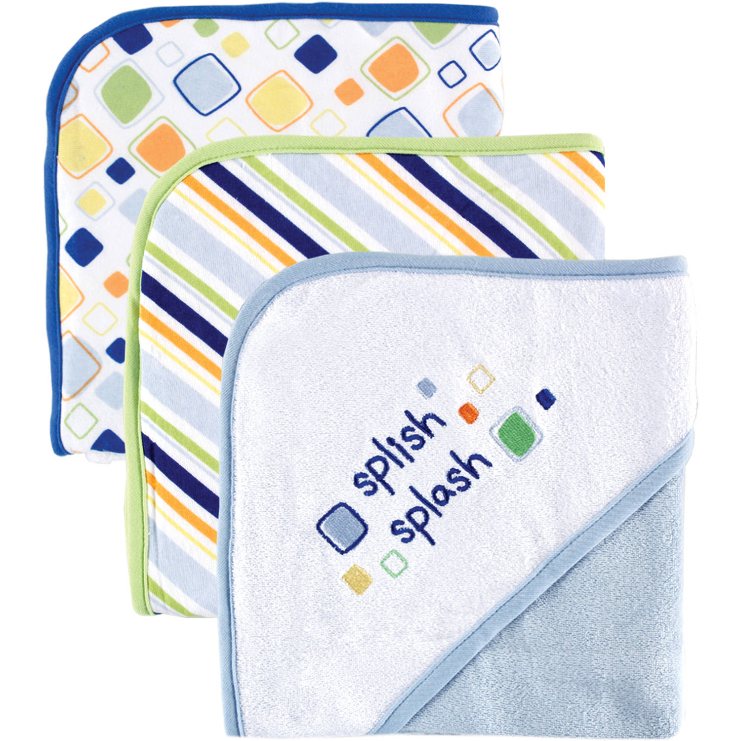 Luvable Friends Hooded Towels, 3pk, Embroidery, Multiple Colors