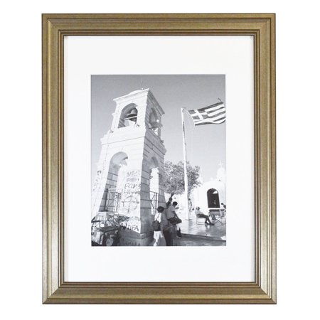 golden state art 11x14 picture frame silver beige with real glass white mat for 8x10 photos. Black Bedroom Furniture Sets. Home Design Ideas