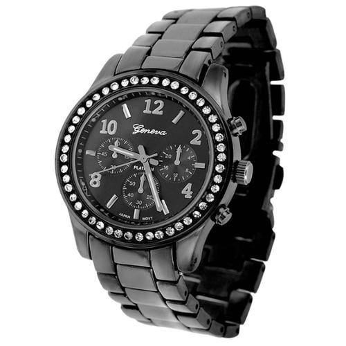 Geneva Platinum Women's CZ Accented Link Watch Silver