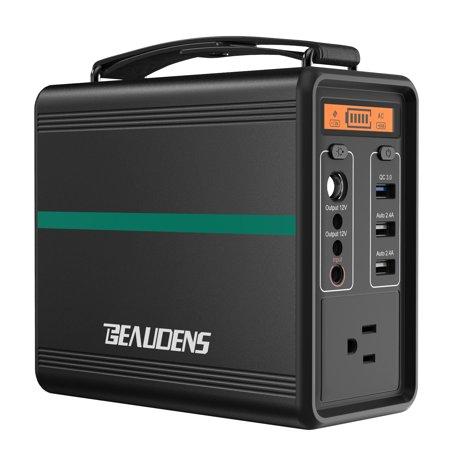 FLOUREON 220Wh Portable Power Station, Emergency External Battery Pack Generator Backup, 120V/300W 2 AC Outlets/4 USB Ports/Solar Input