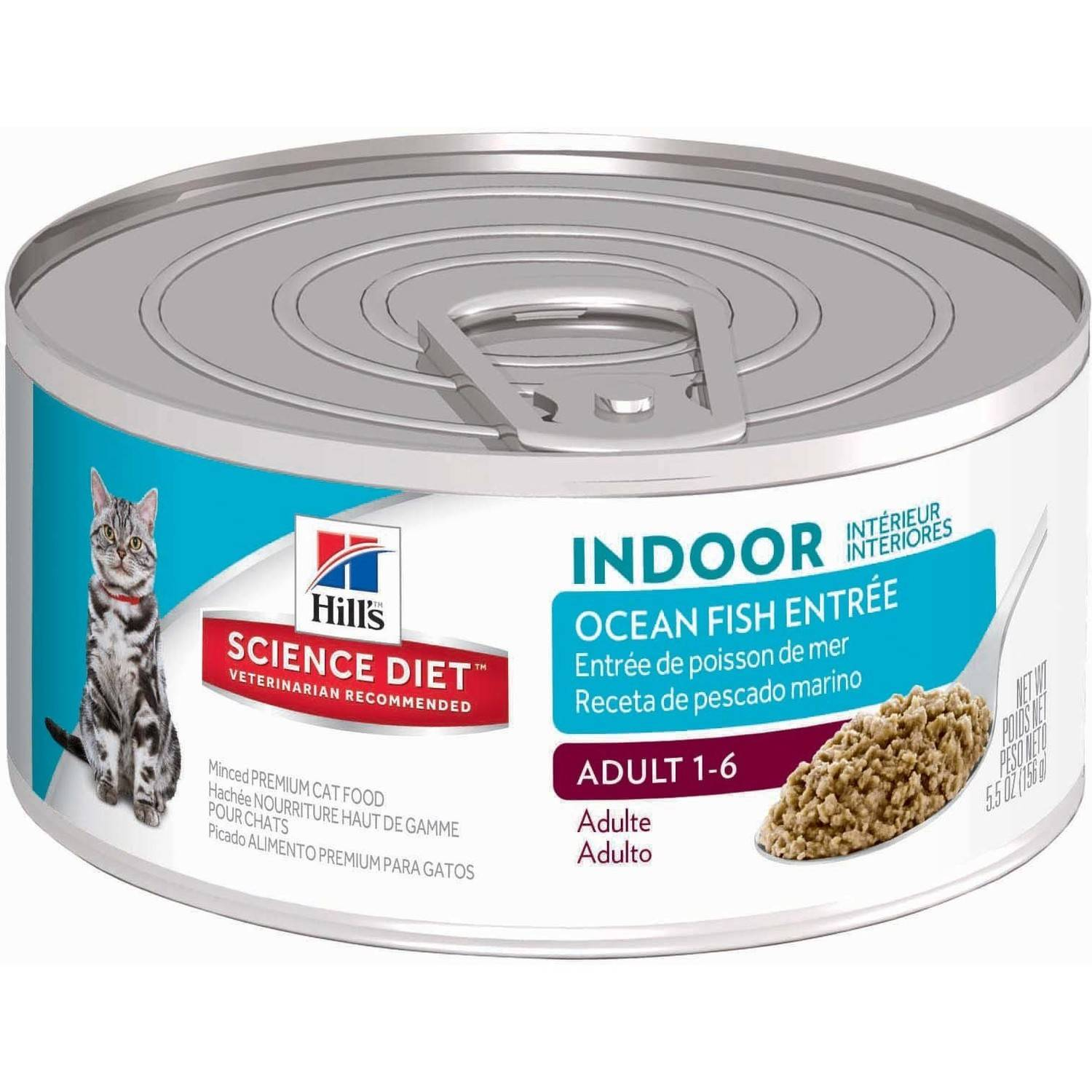 Hill's Science Diet (Get $5 back for every $20 spent) Adult Indoor Ocean Fish Entrée Canned Cat Food, 5.5 oz, 24-pack