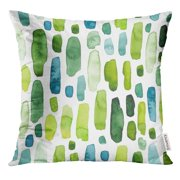 CMFUN Stripe of Watercolor Bright Green and Blue Splashes Shape Pillow Case 18x18 Inches Pillowcase