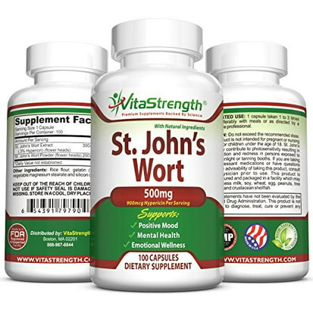 Premium St. John's Wort - 500mg x 100 Capsules - Saint Johns Wort Extract for Mood Support - Promotes Mental Health & Eases Symptoms of Anxiety & (Best Supplements For Anxiety And Depression)