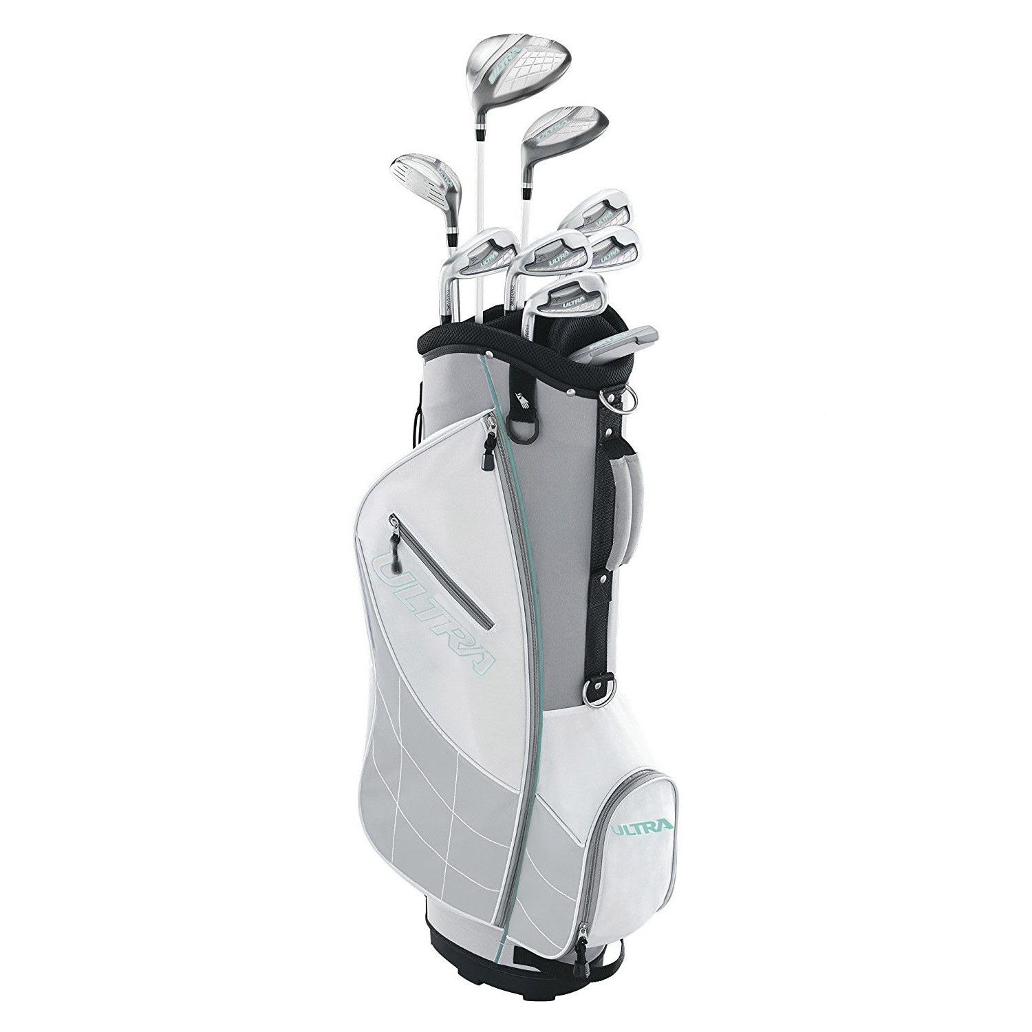 Wilson Ultra Womens Left Handed Complete Golf Club Set with Cart Bag, Gray Mint by Wilson