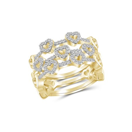 1/3 Carat T.W. White Diamond 14k Gold Over Silver Heart Stackable Ring