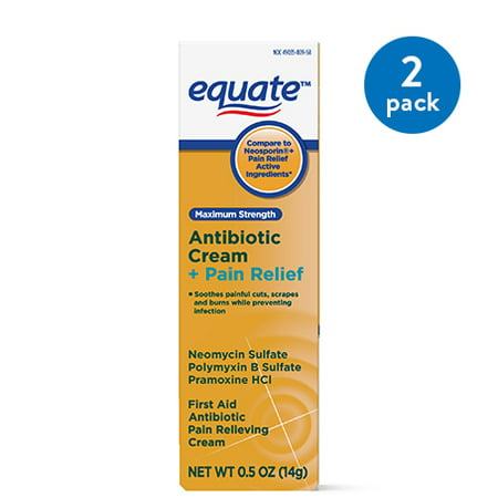 (2 Pack) Equate Maximum Strength First Aid Antibiotic & Pain Relief Ointment, 1