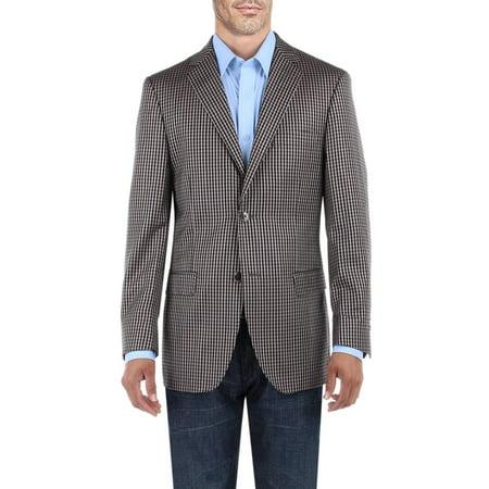DTI BB Signature Men's Dress Suit Jacket Two Button Check Modern Fit Blazer Coat Tan (Check Suit Men)