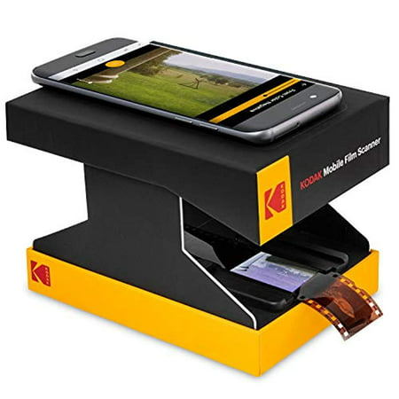 KODAK Mobile Film Scanner – Scan & Save Old 35mm Films & Slides w/Your Smartphone Camera – Portable, Collapsible Scanner w/Built-in LED Light & Free Mobile App for Scanning, Editing & Sharing