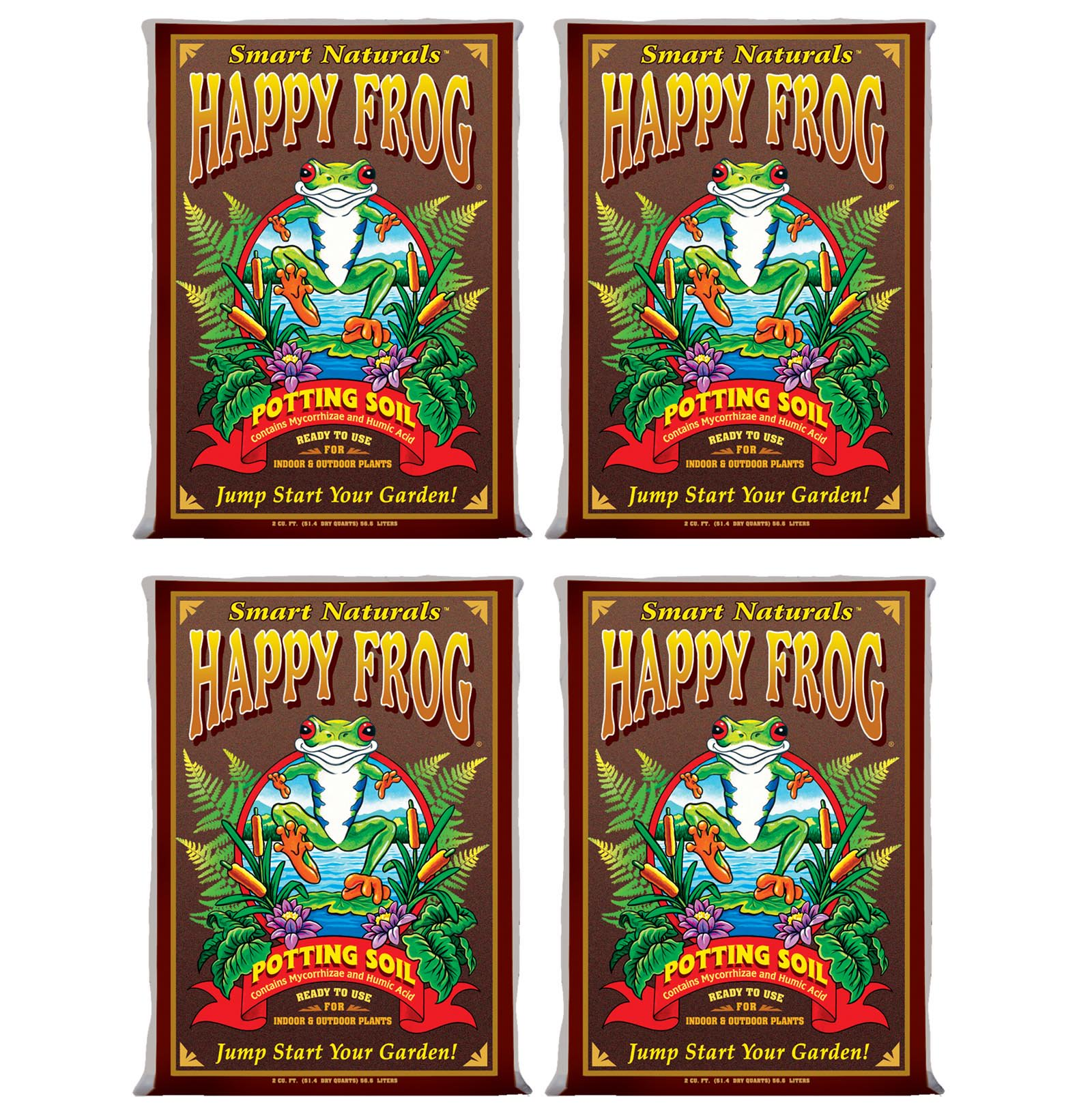 (4) FOXFARM FX14047 pH Adjusted Happy Frog Organic Potting Soil Bags | 8 Cu Ft
