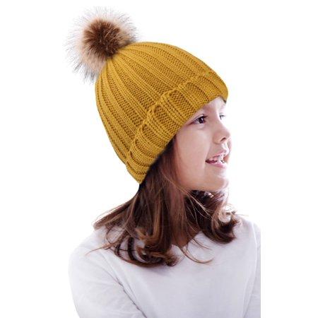 Kids Winter Warm Knit Hat Boys Girls Crochet Pompom Beanie Hat Yellow