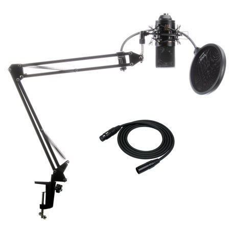 Pro Co Ameriquad Microphone Cable - MXL 770 Microphone with Knox Suspension Boom Arm Stand, Cable, Pop Filter Bundle