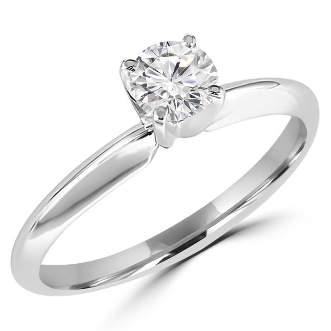 Majesty Diamonds MD170197-5.25 0.4 CT Round Diamond Solitaire Engagement Ring in 14K White Gold - Size 5.25 - image 1 of 1