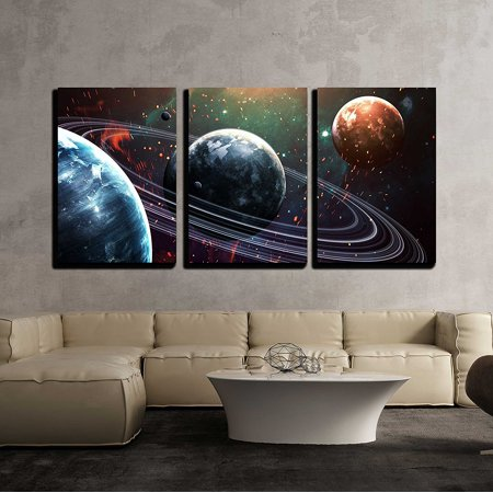 wall26 - 3 Piece Canvas Wall Art - Universe Scene with Planets, Stars and Galaxies in Outer Space - Modern Home Decor Stretched and Framed Ready to Hang - 16
