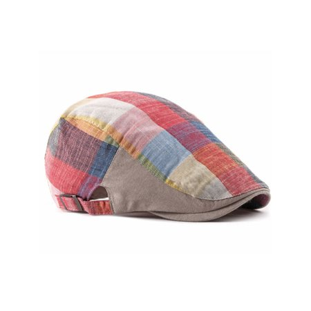 Unisex Men Rainbow Check Printed Hats Gatsby Cap Golf Driving Flat Cabbie (Cleveland Golf Mens 588 Rtx 2-0 Muscle Back)