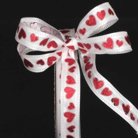 Metallic Semi Sheer White and Red Foil Hearts Wired Craft Ribbon 5/8
