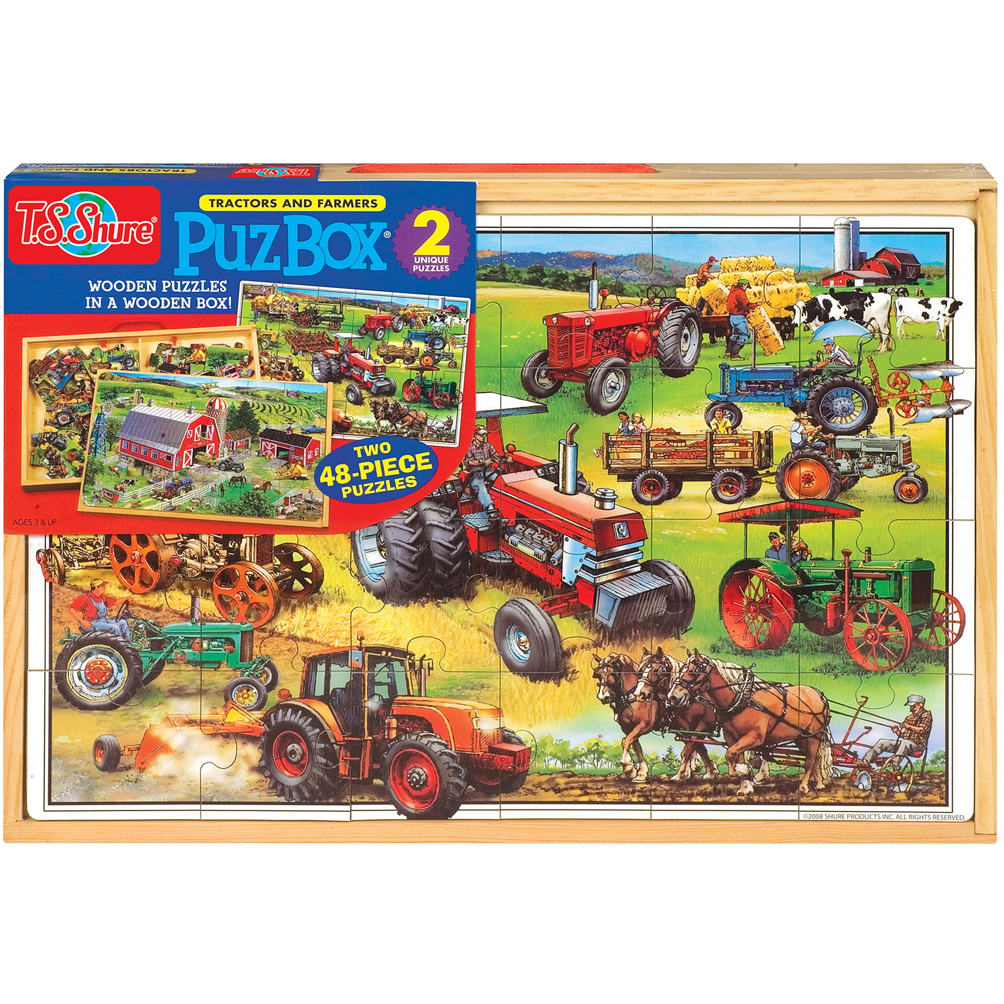 T.S. Shure American Tractors Jumbo Wooden Puzzles in a Wooden Box, 2 Puzzles by TS Shure