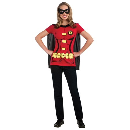 dad4c5de Dc Comics Women's Robin T-Shirt With Cape And Eye Mask, Red, Small ...