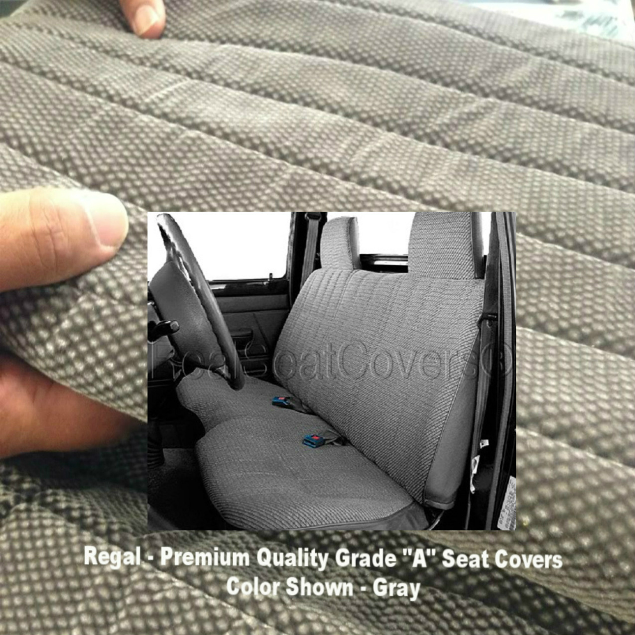 Toyota Pickup 1984 - 1989 Front Solid Bench A25 Seat Cover Molded Headrest Notched Cushion Gray, Grey