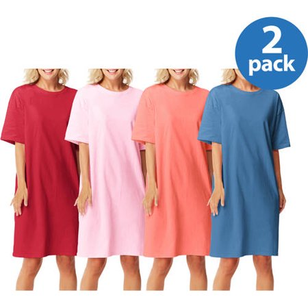 Womens Cotton Wear-Around Crew Neck T-shirt 2 pack Value Bundle